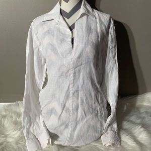 Kenneth Cole Size M 100% Linen Boho White Top
